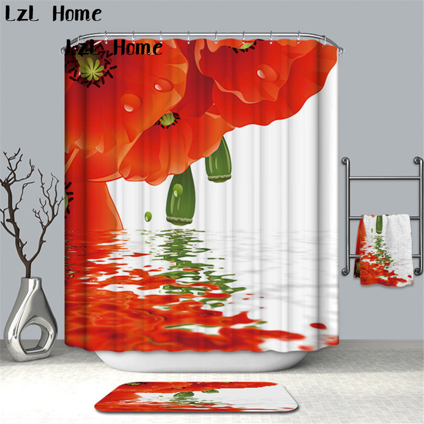 LzL Home Psychedelic 3D Flower Shower Curtain White Red Pink Big Flower Bathroom Curtain Waterproof Fabric Curtains Home Decor