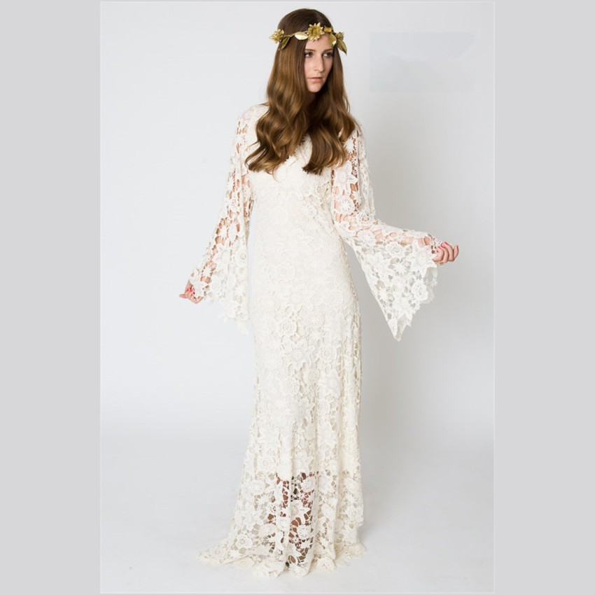 2016 Vintage White Lace Bohemian Wedding Dresses With Sleeves Custom ...