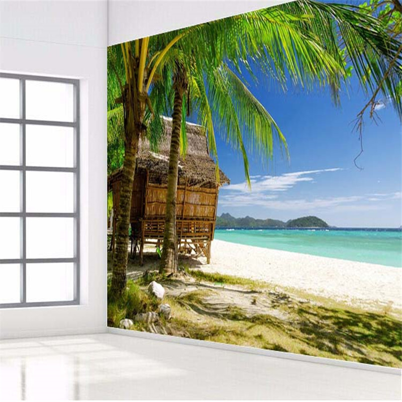 beibehang photo wall paper High quality 3d wallpaper HD palm beach seascape style sofa summer large wall mural wallpaper