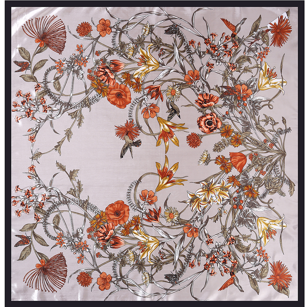 3b8d2ecd33890 2018 Ethnic Silk Women floral print scarf Fashion Thin Neckerchief Foulard  Femme Large Square Scarves Wholesale 90 90CM-in Women s Scarves from  Apparel ...
