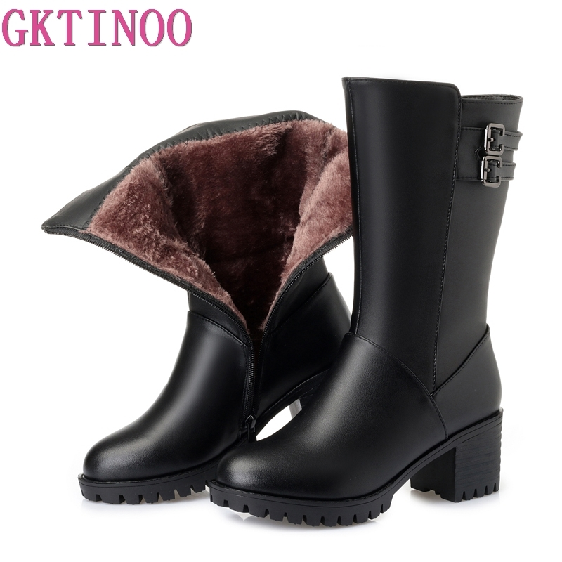 GKTINOO New Women Winter Snow Boots Mid-Calf Thick High Heels Genuine Leather Shoes Women Warm Plush Boots Ladies Plus Size стоимость