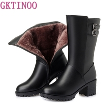 GKTINOO New Women Winter Snow Boots Mid Calf Thick High Heels Genuine Leather Shoes Women Warm Plush Boots Ladies Plus Size