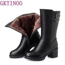 Gktinoo nova mulher inverno botas de neve meados de bezerro grosso saltos altos sapatos de couro genuíno feminino quente botas de pelúcia senhoras mais tamanho
