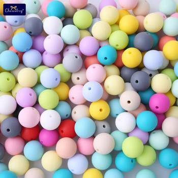 500pcs 12mm Babay Teether Beads DIY Nursing Necklace Food Grade Perle Silicone Rodent Teething Pacifier Chain Children'S Goods