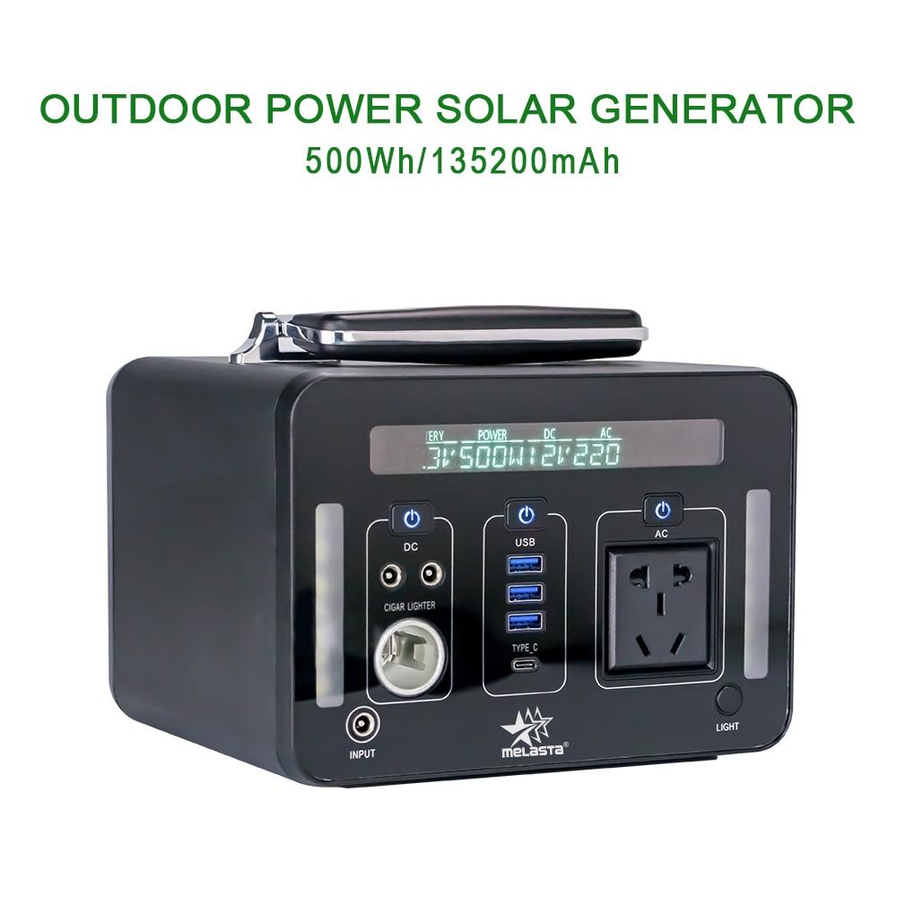 Générateur Portable centrale électrique 220V 500Wh secours batterie au Lithium pur onde sinusoïdale prise de courant alternatif, générateur solaire à l'extérieur