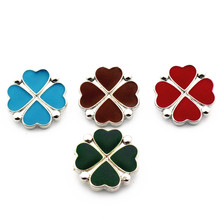 Hot selling Mix 20Pcs/lot clover 18mm Alloy Snap Buttons For DIY Bracelet Necklace Women Fashion Jewelry