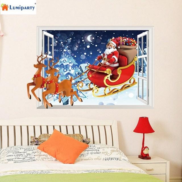 f70364570961f LumiParty Reno de Papá Noel de la Ventana 3D Extraíble Pared de Vinilo  Pegatinas Navidad Decoración