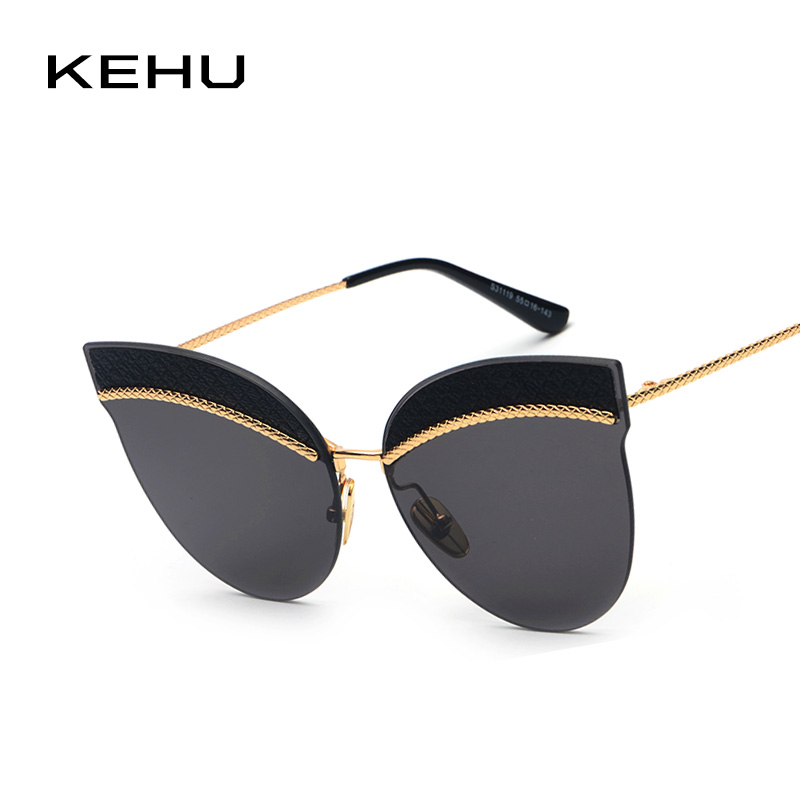KEHU Women Luxury Cat Eye Sunglasses Fashion Retro Brand Designer Oversized Female Sun Glasses Tide K9415