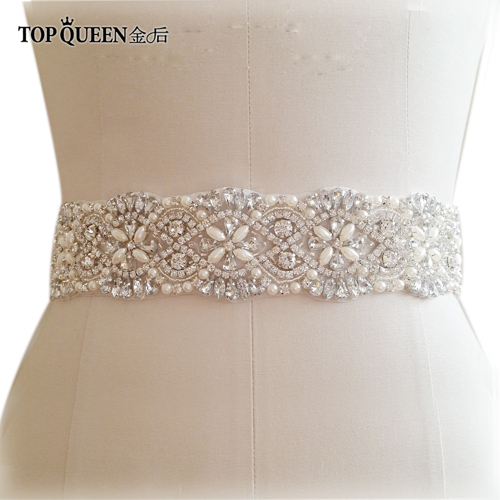 TOPQUEEN S04B Bridal Sashes Women s Rhinestones Crystals Bride Waist Wedding  Belts Accessories For Evening Party Gown Dresses c0d836802ca2