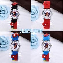 Wholesale 4pcs/lot Spider man 3D Cartoon watches quartz watch children clock boy gril gift hours Students relojes relogio