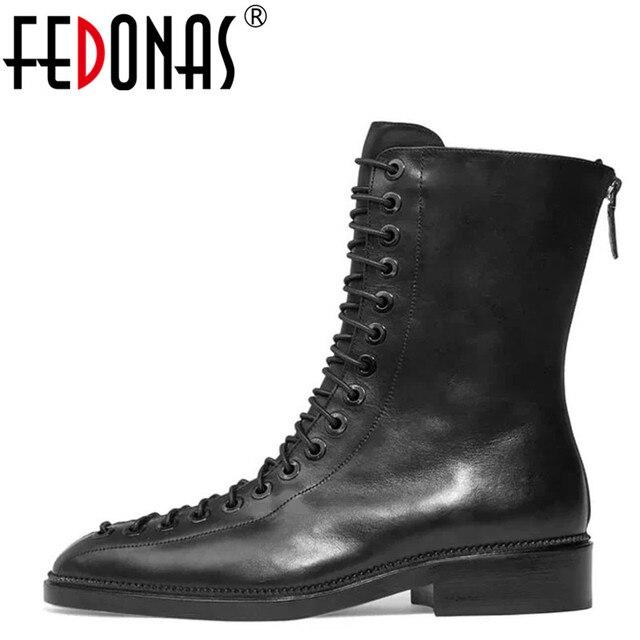 a2bd9e92 FEDONAS wysokiej jakości buty z prawdziwej skóry kwadratowe obcasy jesień  zima botki Sexy buty motocyklowe buty