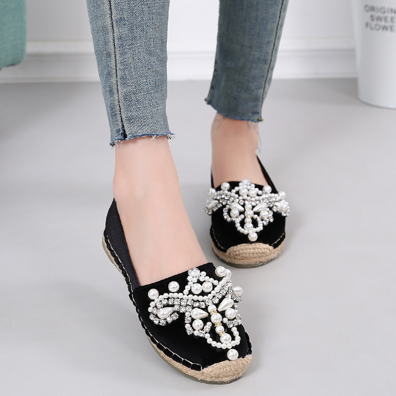 Detail Feedback Questions about 2018 Women s New Shoes Round Shampoo  Diamond Pearl Shoes Gold Velvet Fisherman Shoes Casual Flat Women  Espadrilles for Girl ... a618a0db7646