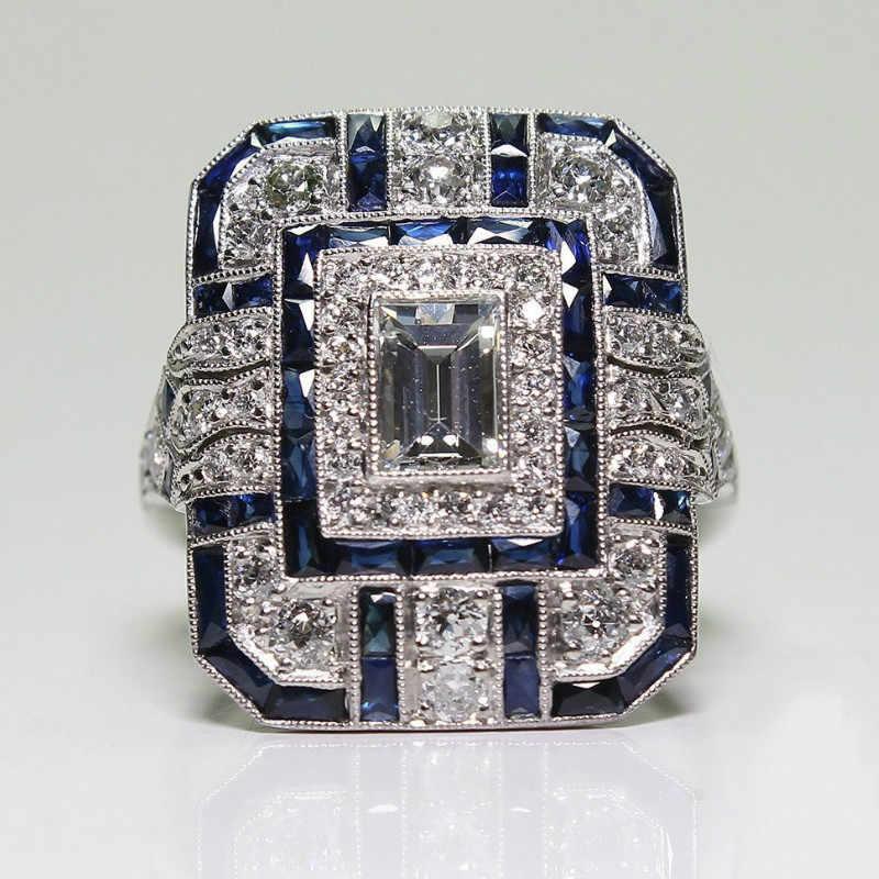 Новое поступление большой голубой камень серебряные кольца для женщин модное украшение для свадьбы помолвки кольца