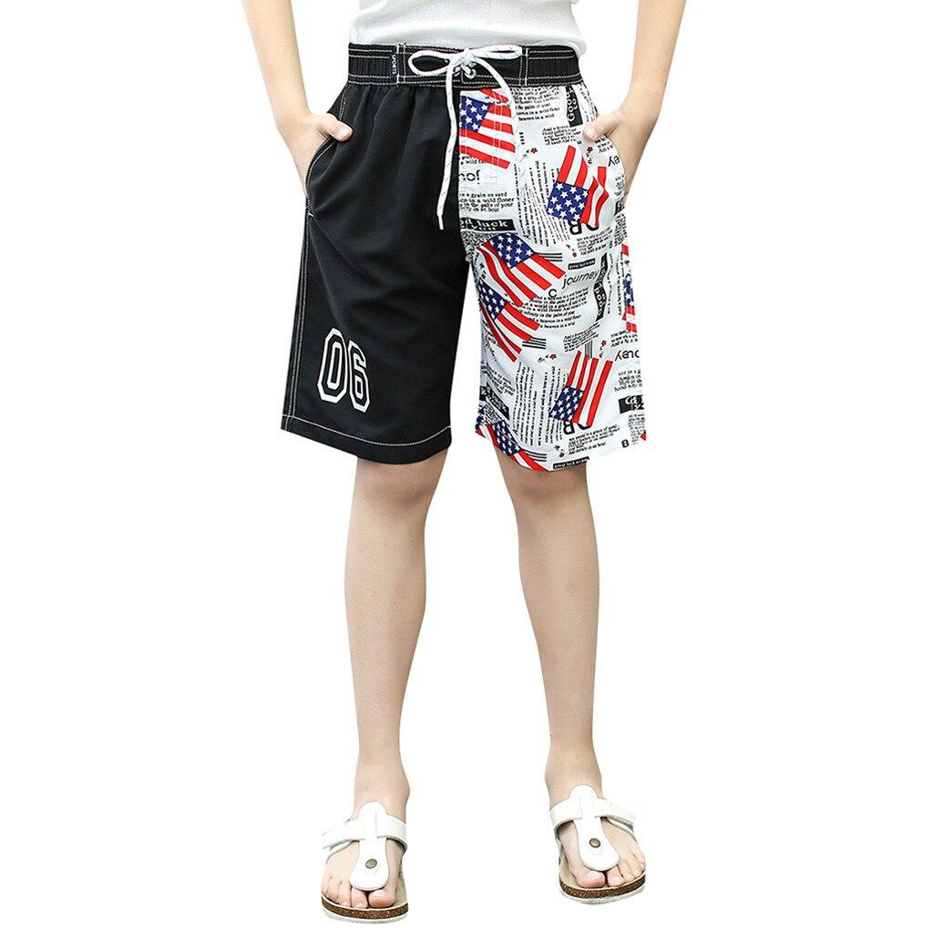 American Flag Swimwear Shorts USA Swim trunk Boy Kid Children Swim July 4th Trunk Loose Shorts HOOLER