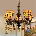 Europäische retro Tiffany farbige glas bar club wohnzimmer restaurant schlafzimmer Gelb 5 kronleuchter