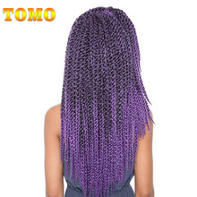 "TOMO Hair Fiber Synthetic Braiding Hair 18"" 12Roots 100g/Pack Ombre 3D Cubic Twist Crochet Hair Braid Extensions 5Packs/Lot(China)"