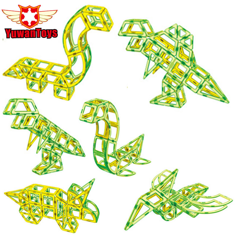 Big Size 107PCS Dinosaur Enlighten Magnetic Building Blocks Educational Construction DIY Plastic Bricks Toys Christmas Gift