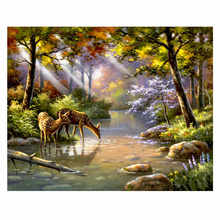 RIHE Forest Deer Diy Painting By Numbers Animal Oil On Canvas Hand Painted Cuadros Decoracion Acrylic Paint Home Decor