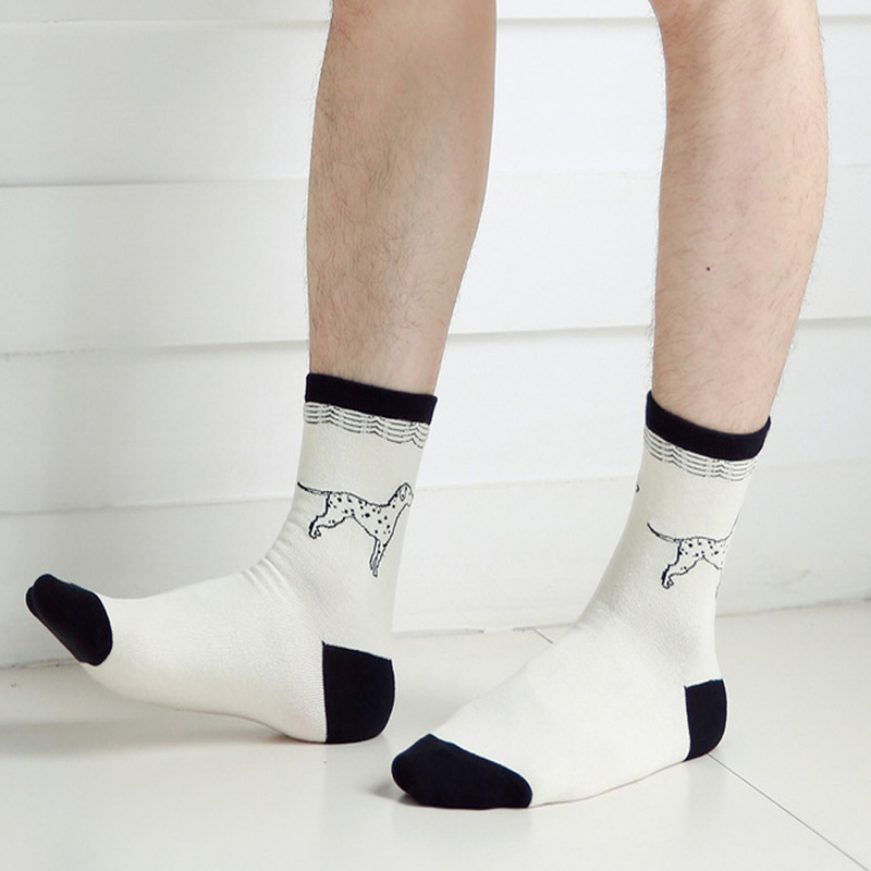 3Pair/Lot Fashion Animal Embroidery Socks Funny Male White Socks Short For Mens Dress Art Socks Low Cut Ankle Chaussette Homme