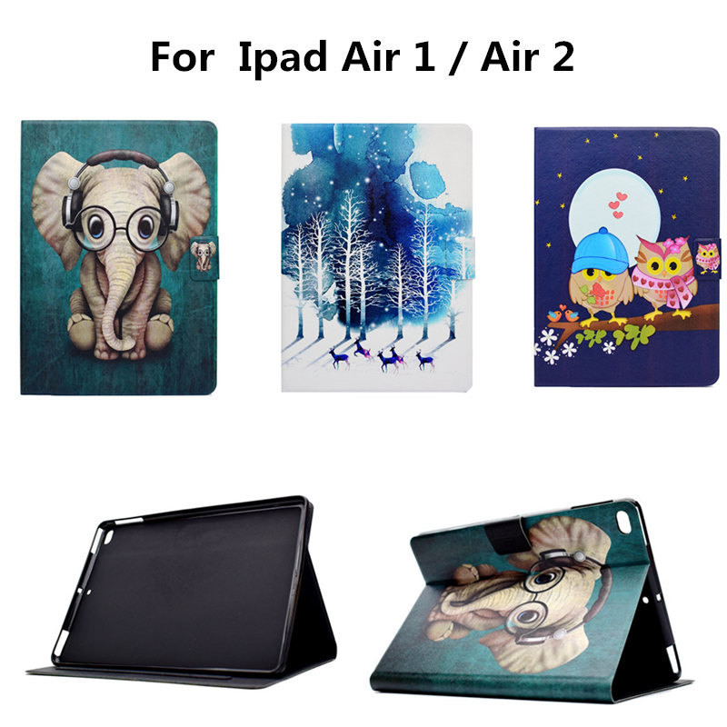 Tablet Cartoon Smart Case Stand Cover For ipad Air 1 2 Colorful Print Shockproof Slim Soft TPU Protective for iPad Air2 9.7 ctrinews for ipad air 1 case clear transparent soft tpu silicone back case for apple ipad 5 air 1 tablet pc protective cover