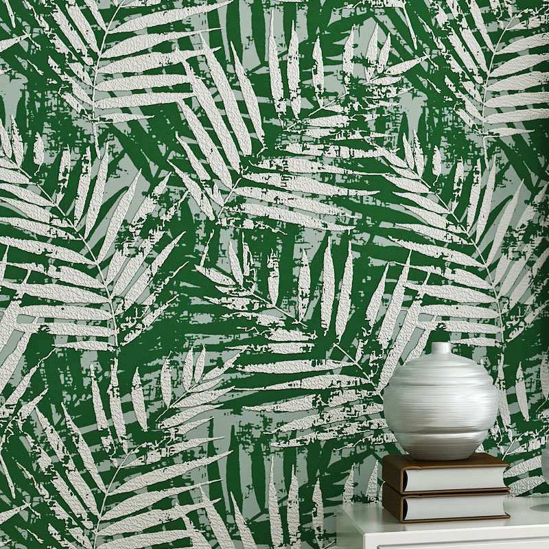 Thickened Relief 3D Coconut Tree Green Leaves Non-woven Wallpaper Warm Living Room Bedroom Restaurant TV Background  Wall PaperThickened Relief 3D Coconut Tree Green Leaves Non-woven Wallpaper Warm Living Room Bedroom Restaurant TV Background  Wall Paper