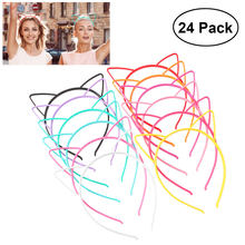 Unomor 24pcs Cat Ear Headband 0.6cm ABS Plastic Hair Hoop Headpiece for Party Daily Hairstyle Decoration (12-Color)(China)