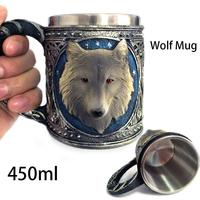 Double Wall Stainless Steel 3D Wolf Head Mugs Coffee Beer Cup Mug Animal Wolf King Drinking