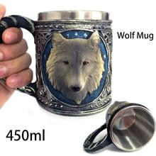 Personalisierten Doppelwand Edelstahl 3D Wolf Kopf Tassen Kaffee bier Tasse Becher Trinkbecher Canecas könig wolf Trinkbecher A3