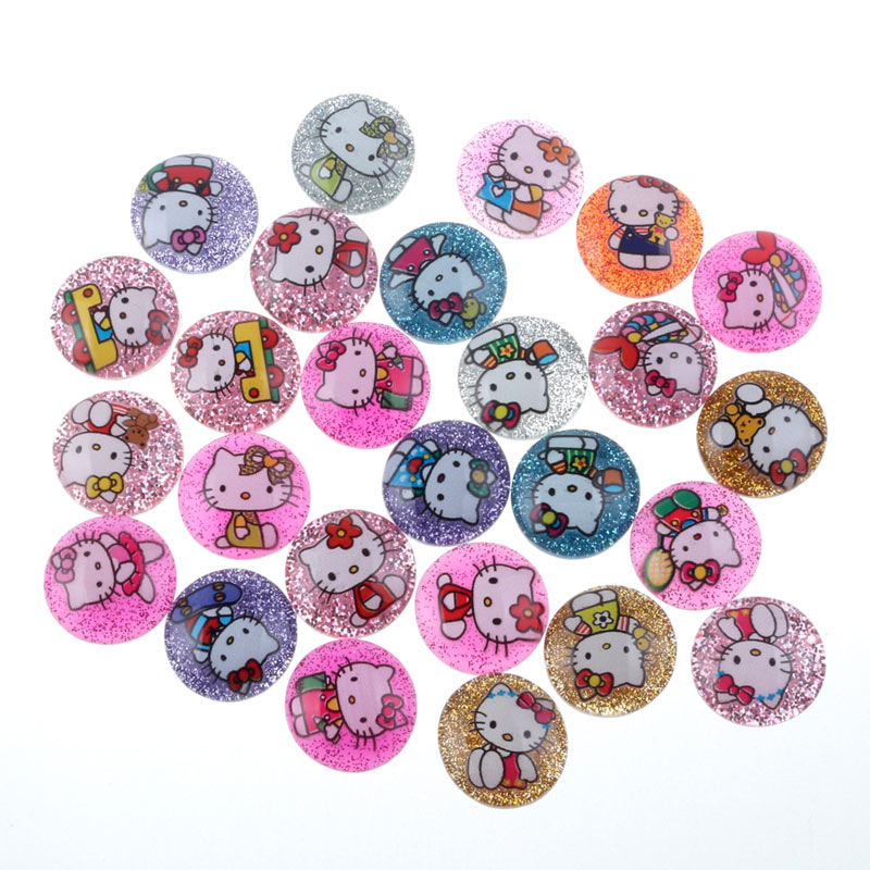 50Pcs Clear Glitter Round Resin Cats Cabochon Flatback Decoration Crafts Embellishments For Scrapbooking Diy Accessories