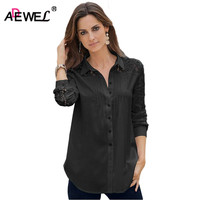 ADEWEL 2018 Spring Long Sleeve Button Down Shirt Women Blouse Casual Patchwork Lace Blouse Tops Blusas