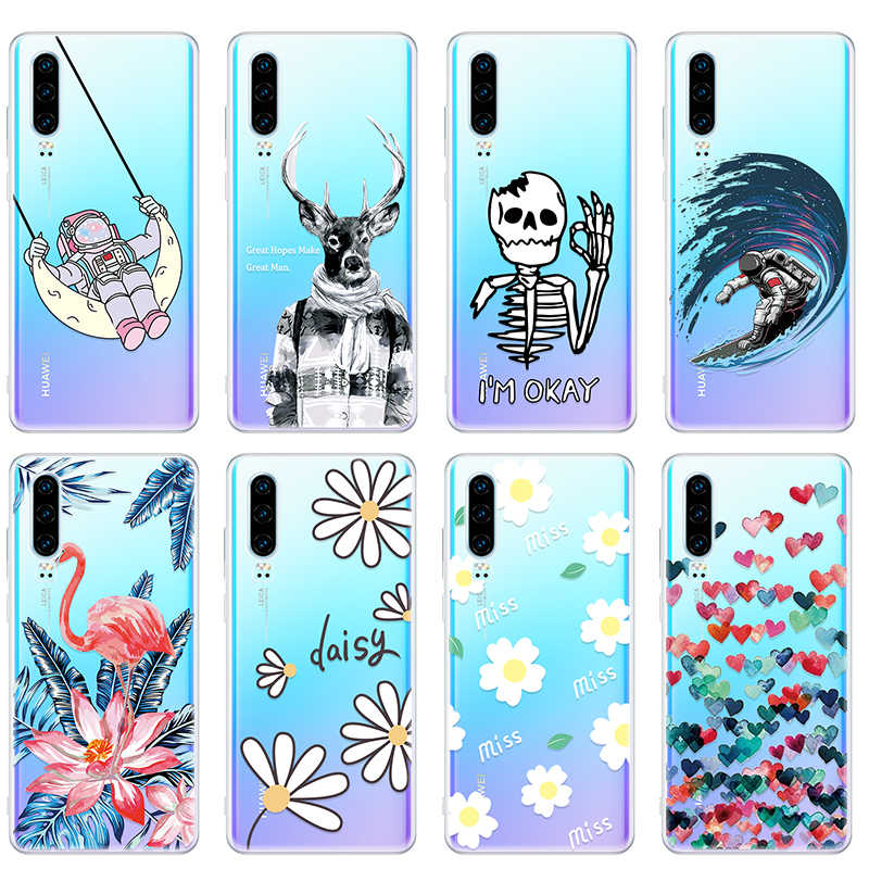 Cute Flowers Love Heart Pattern Phone Case On For Huawei P30 Pro P 30 P30Pro P30 Lite Cartoon Printing Back Cover Silicone Coque