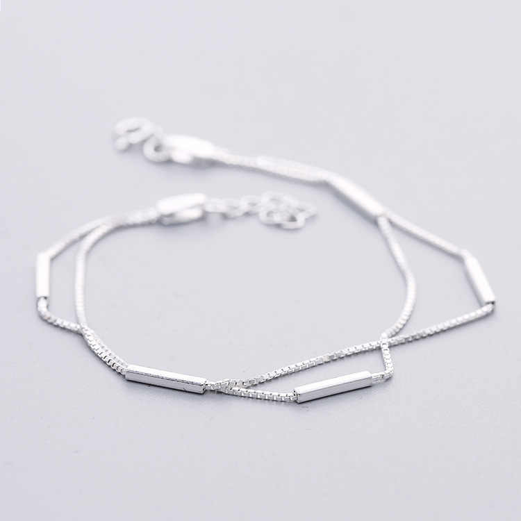 Daisies Pure 925 Sterling Silver 2 Layers Bands Square Bars Box Chain Bracelets For Girls Wedding Gift Statement Jewelry