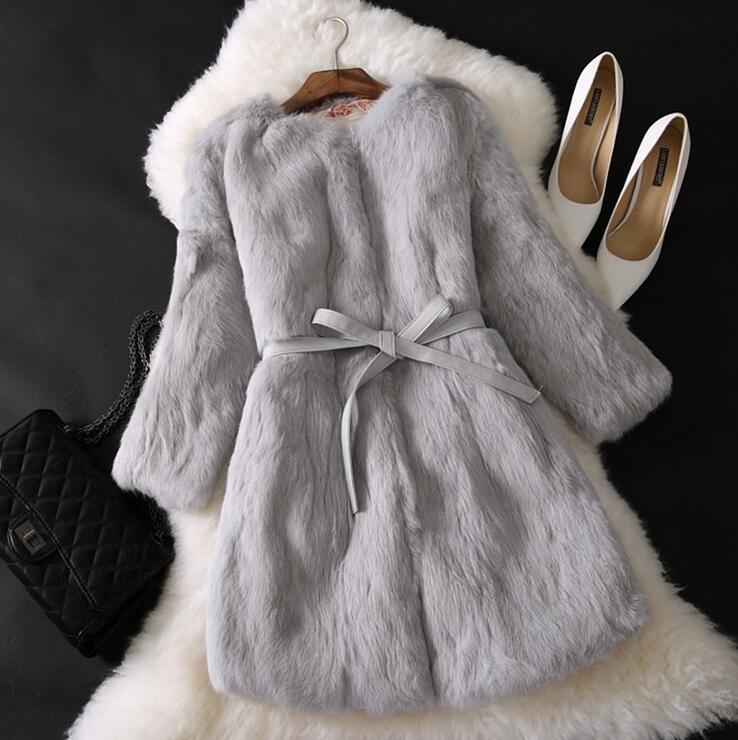 Разноцветные Для женщин зимнее пальто с натуральным кроличьим Мех животных на Длина Роскошные четверти femininas пальто с карманами AL15