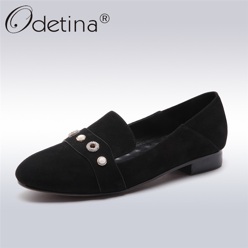 Odetina 2018 New Fashion Genuine Leather Shoes for Women Leisure Loafers Chunky Heels Pearl Crystal Slip On Low Heeled Shoes new 2017 men s genuine leather casual shoes korean fashion style breathable male shoes men spring autumn slip on low top loafers