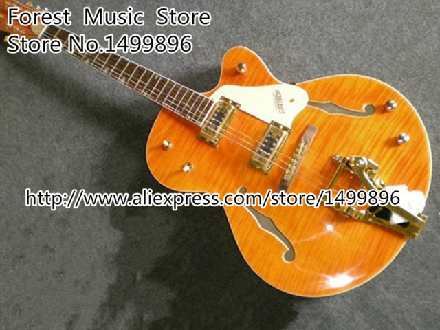 Cheap China Custom Shop G6120 Golden Electric Classical China Jazz Guitar with Bigsby For Sale