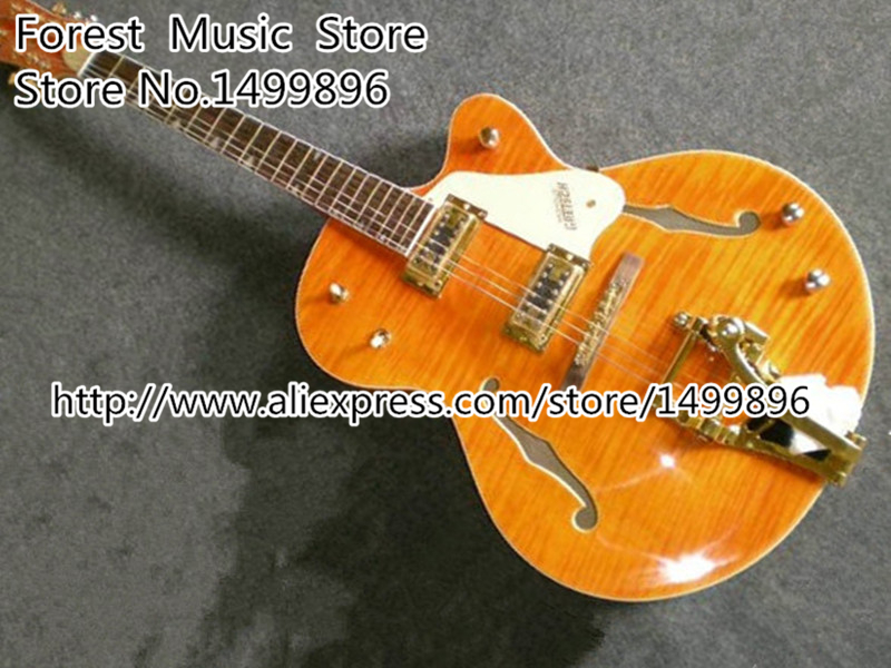 China Custom Shop G6120 Golden Electric Classical China Jazz Guitar with Bigsby For Sale custom shop goldentop lp electric china guitar solid mahogany guitar body with bigsby for sale
