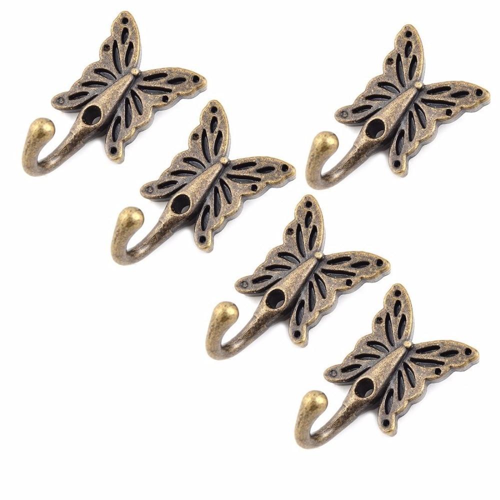 5PCS 35*56MM Vintage Bronze decoration coat hooks Butterfly metal hook wall storage towel hat Bag hanger
