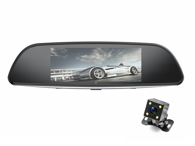 """KMDRIVE 6.86"""" Touch IPS Screen Dual Lens 1080P FHD Car DVR Rearview Mirror with Reversing Camera Parking System Kit"""