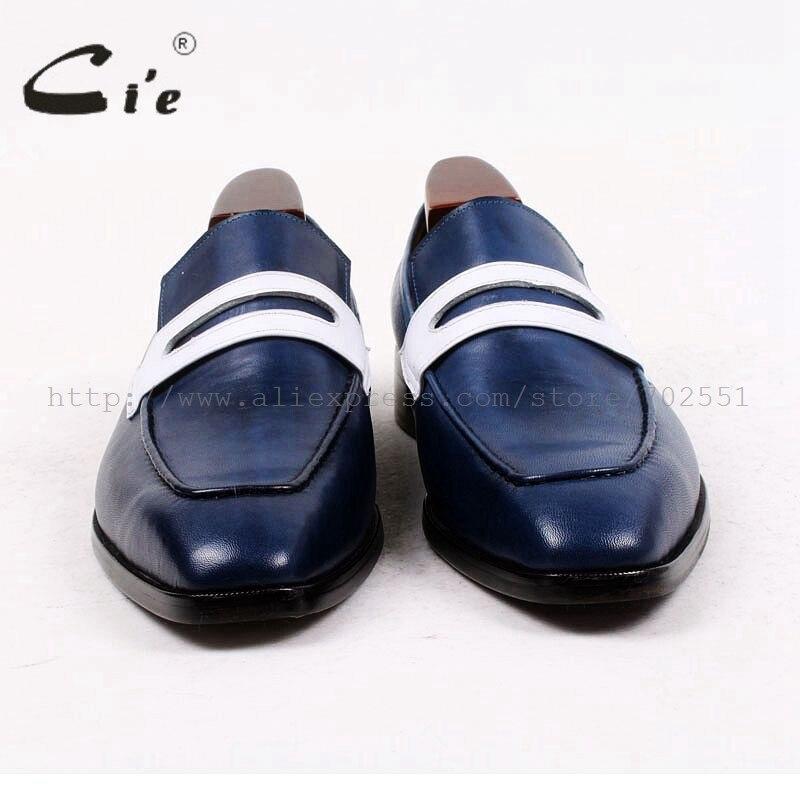 Cie vierkante teen penny schoen slip op blauw/wit 100% echt kalfsleer ademend bespoke custom handgemaakte mannen lederen loafer75-in Formele Schoenen van Schoenen op  Groep 3