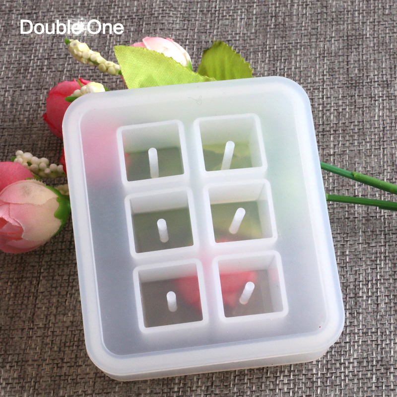 Rectangle Shape 6 Square Space Silicone Resin Mold Jewelry Making DIY Craft Handmade White Six-block Box 1 Pc 12mm