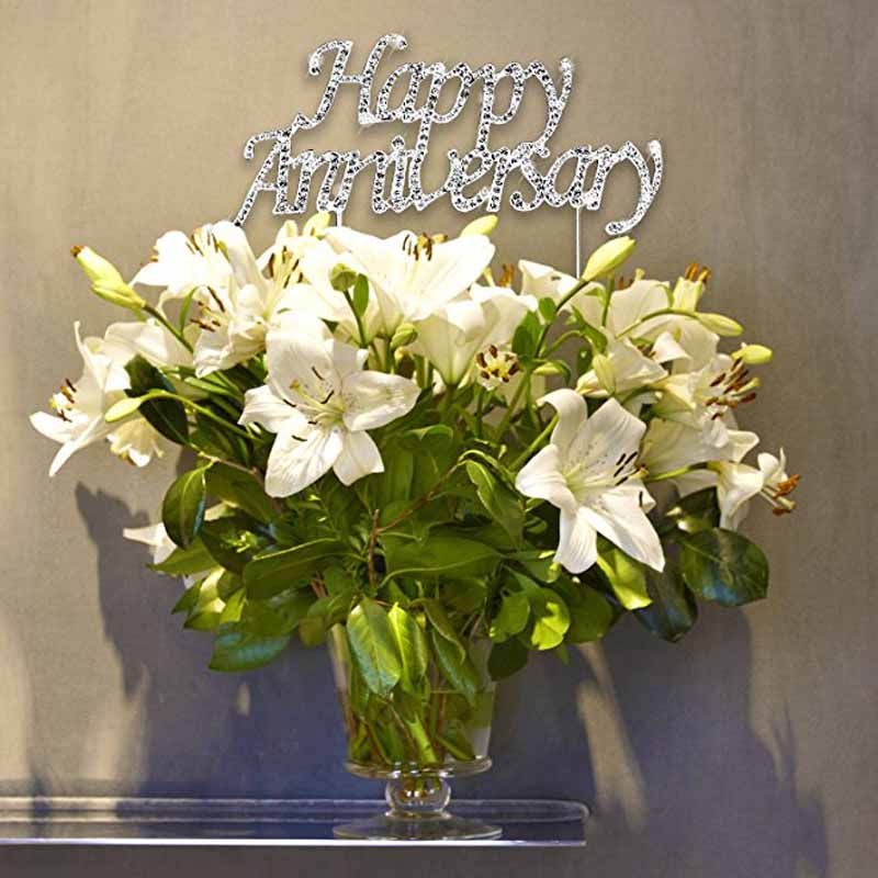 1st Wedding Anniversary Decoration Ideas At Home: Rhinestone Wedding Happy Anniversary Cake Topper For 1th