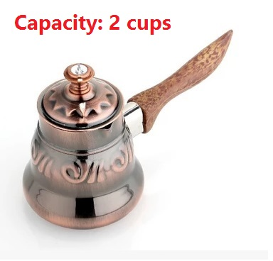 1pc 2 cups Turkish Greek Arabic Coffee Pot stainless steel pot with wooden handle lid Stovetop Coffee Maker Ibrik for barista