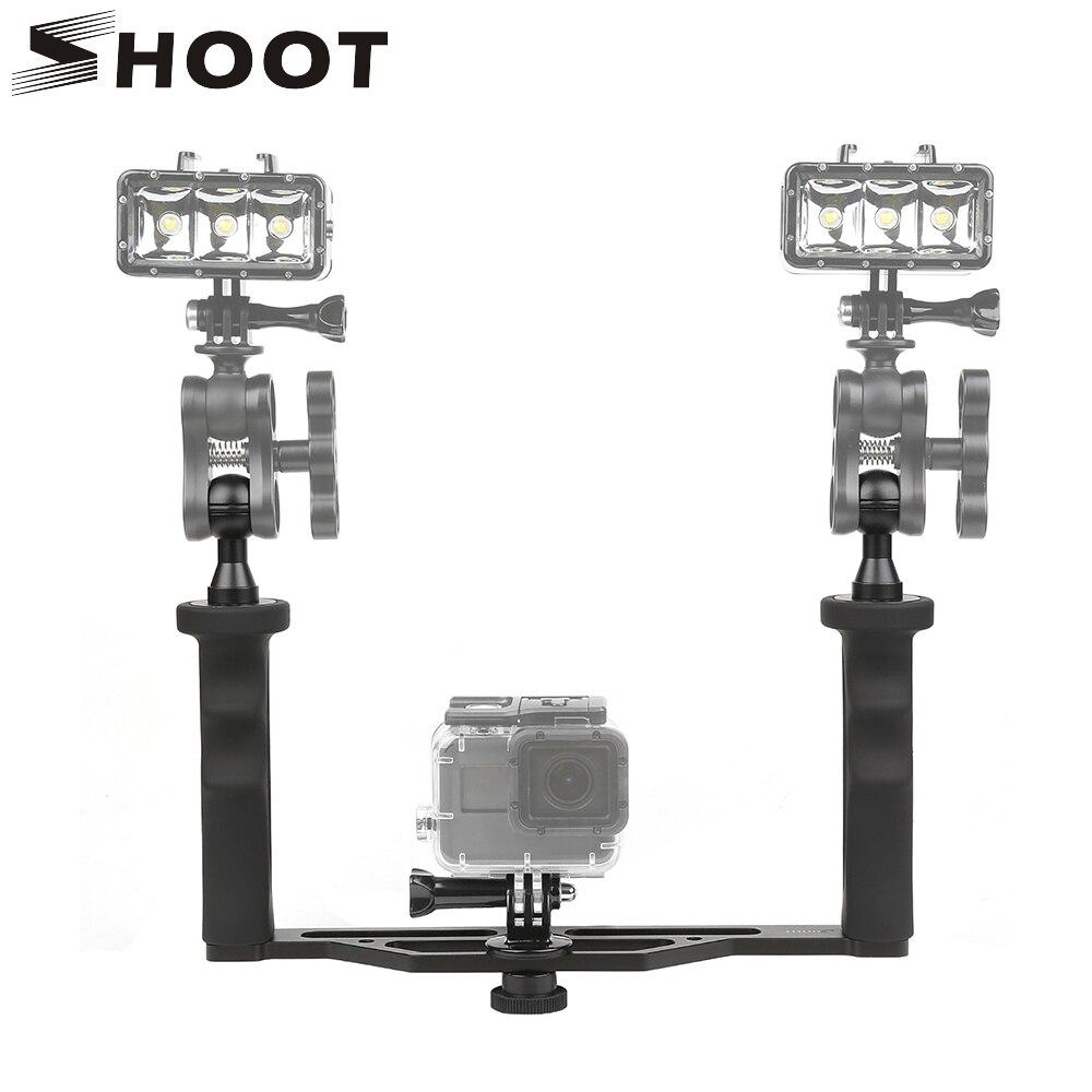 SHOOT Universal Aluminum Metal Handheld Stabilizer Hand Grip Underwater Mounting Tray For GoPro 6 5 4