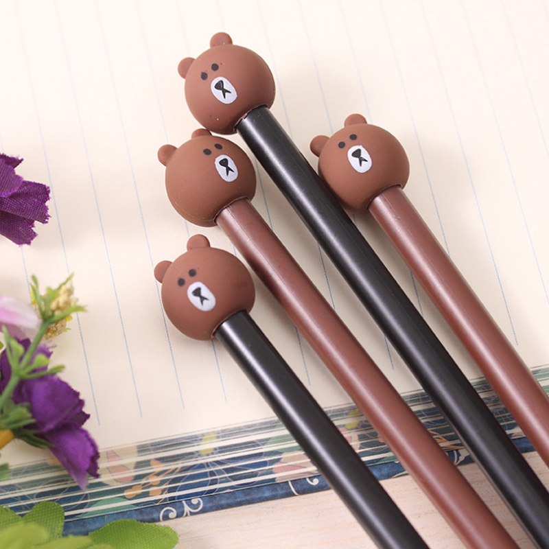 3 Pieces Lot 0.38mm Cute Kawaii Cartoon Rilakkuma PVC Gel Pen For Kids Writing Office School