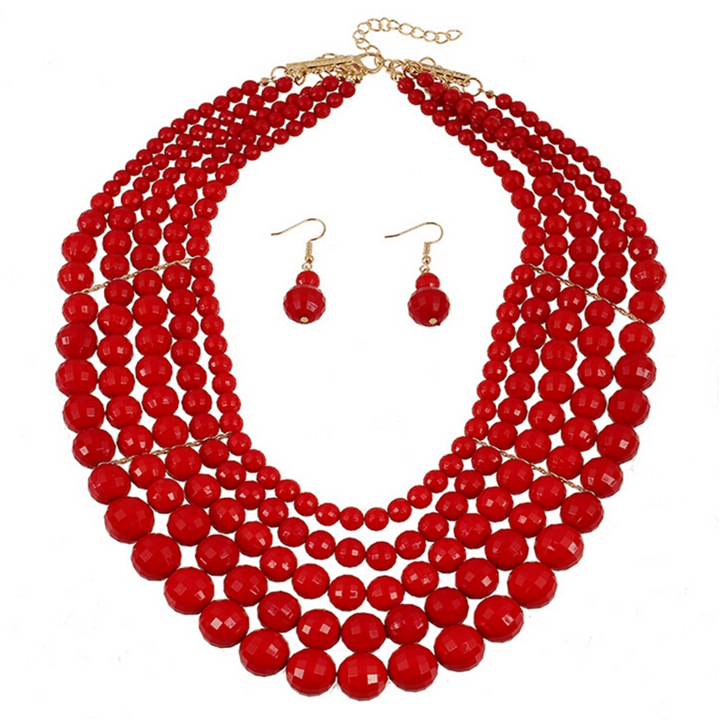 Classic Jewelry Sets Women Layered Beads Chunky Charms Necklace Earrings Set Bohemian Statement Necklace Set Jewelry in Jewelry Sets from Jewelry Accessories