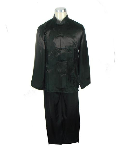 Black New Chinese Men's Silk Satin Embroidery Shirt Trousers Kung Fu Suit S M L XL XXL Free Shipping M0014