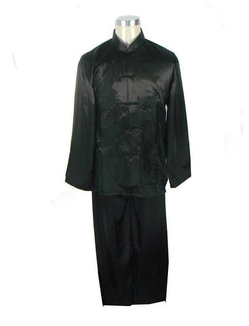 Negro de los Nuevos hombres Chinos Satén de Seda Bordado Camisa Pantalón Kung Fu Suit Sml XL XXL Envío Gratis M0014