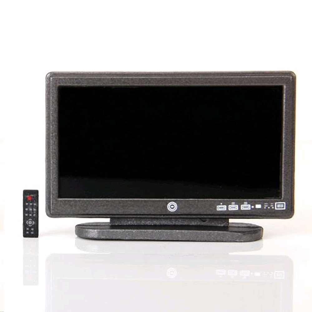 OKI-Dollhouse Miniature Widescreen Flat Panel LCD TV with Remote Gray Dollhouse Living Room Furniture