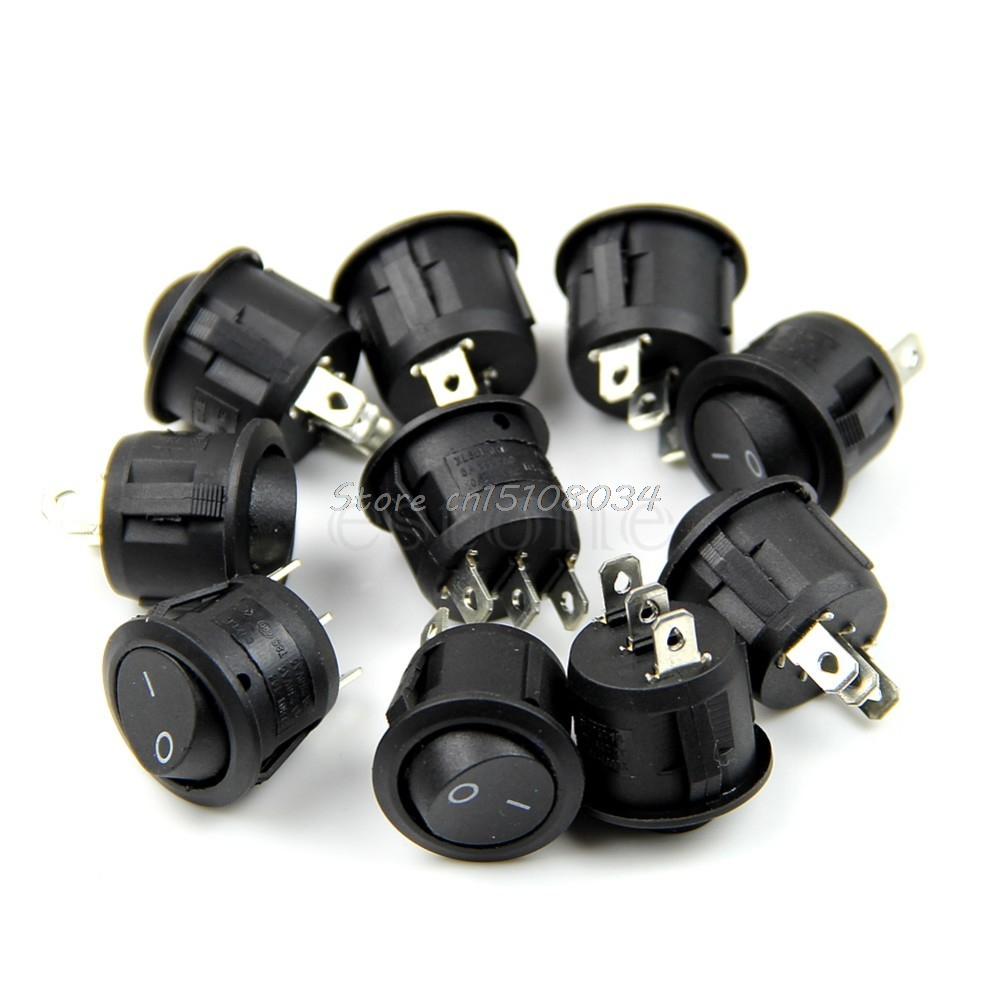 5Pcs Black Mini Round 3 Pin SPDT ON-OFF Rocker Switch Snap-in #S018Y# High Quality 10pcs ac 250v 3a 2 pin on off i o spst snap in mini boat rocker switch 10 15mm