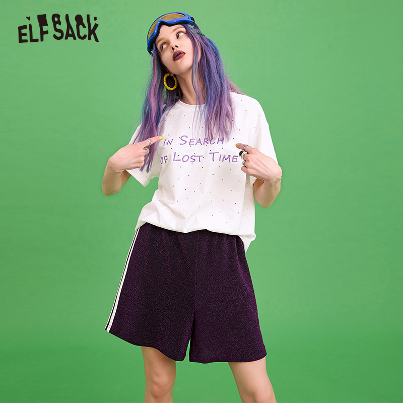 Elf Sack Glitter Casual Women Set Letter Embroidery White Women Tee & Purple Loose Shorts 2019 Summer Fashion Female Suits